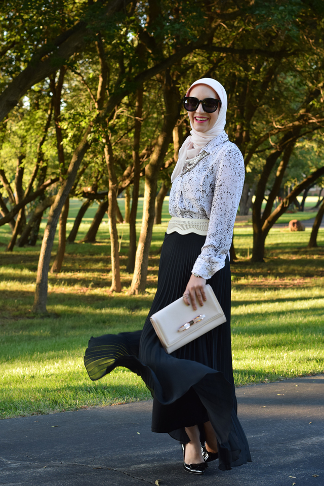 A Day In The Lalz; Banana Republic Abstract Print Boyfriend Shirt' Pink and Black; Fall Style; One Shirt Two looks; Day to Night; Black Maxi Skirt; Hijab; Modest Fashion; Fashion Blog; Versatile Blouse