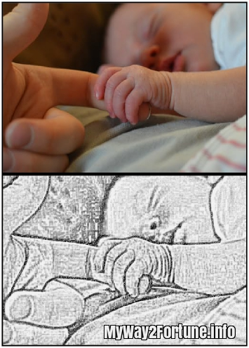Baby before and after sketch
