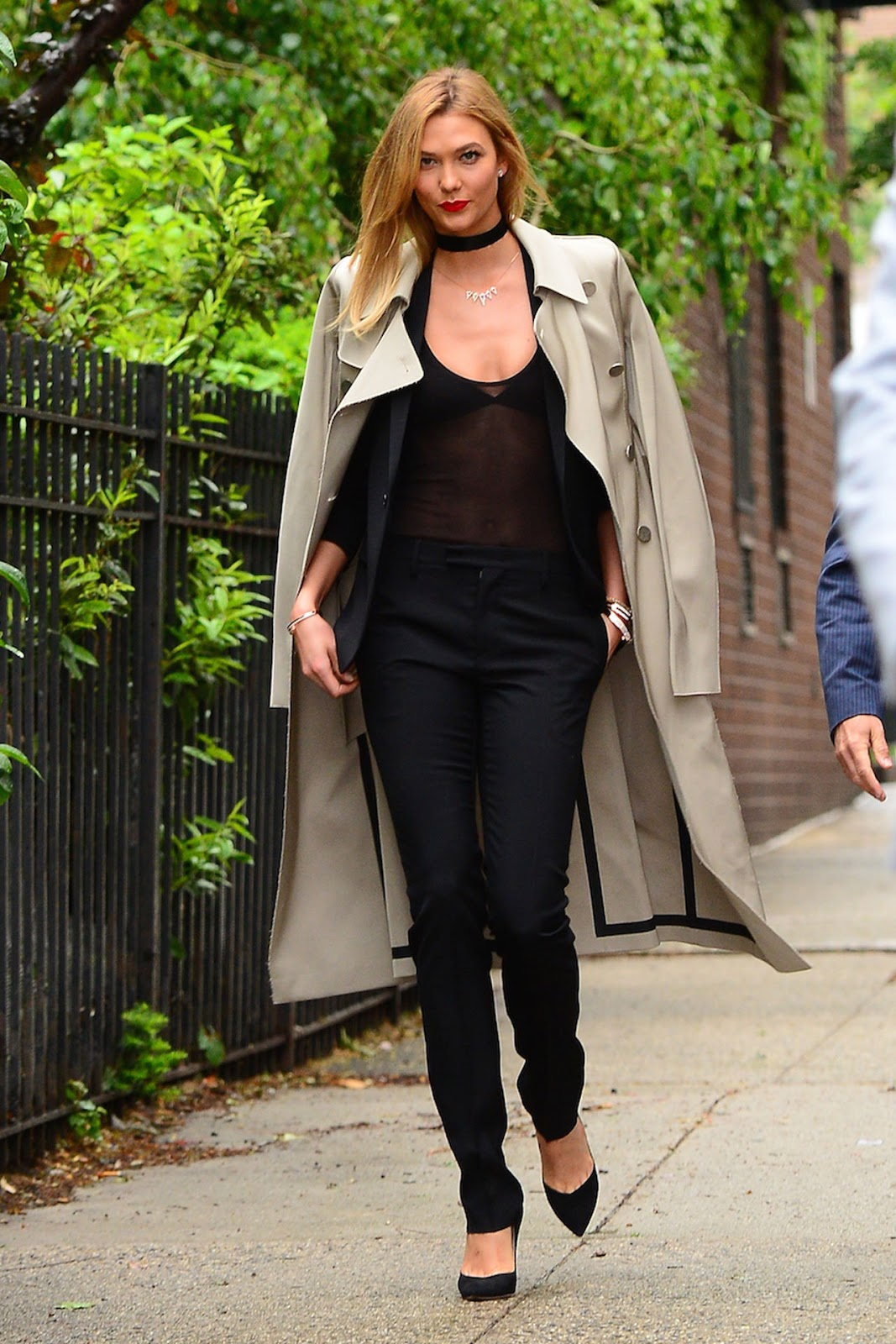 Karlie Kloss Wears a Sheer Tailored Look Out in NYC
