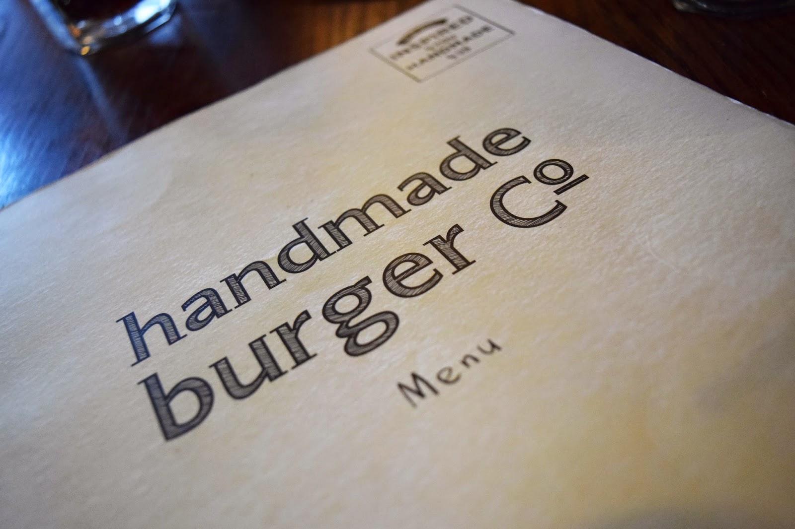 The Handmade burger menu