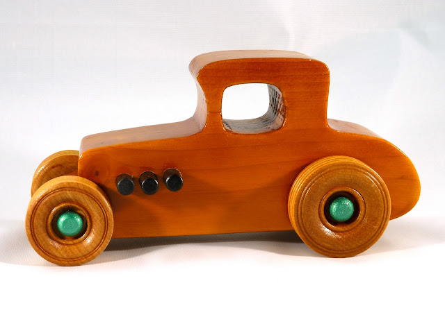 Left Side - Wooden Toy Car - Hot Rod Freaky Ford - 37 T Coupe - Pine - Amber Shellac - Metallic Green Hubs