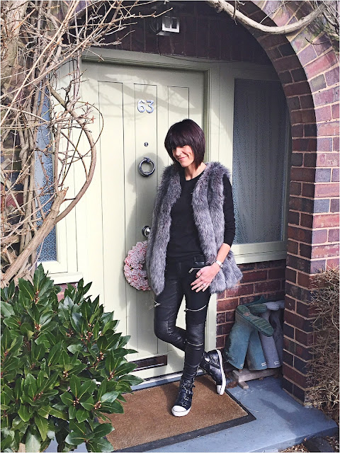 My Midlife Fashion, Shop My Style, Faux fur gilet, zara faux leather biker trousers, marks and spencer pure cashmere crew neck jumper, Cloggs Shoes, Ash Virgin Nappa Ash Black Wax Trainers