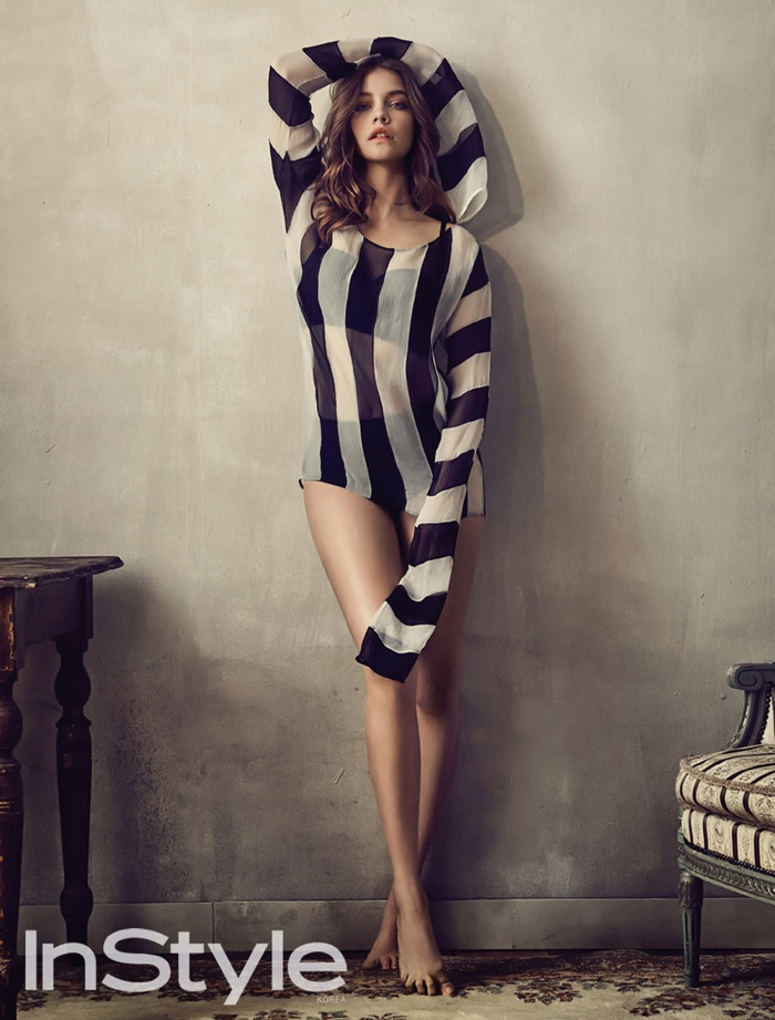 Barbara Palvin wears lingerie inspired designs for InStyle Korea
