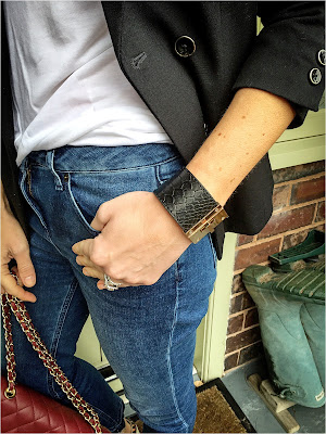 My Midlife Fashion, Marks and Spencer limited edition military blazer, boden vintage raw edge cropped jeans, mango rigid cuff bracelet, zara v neck t shirt, leather quilted handbag