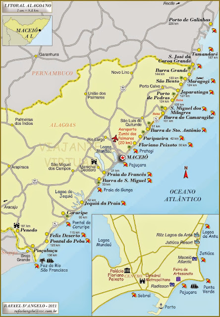 Mapa do litoral Maceio e Alagoas