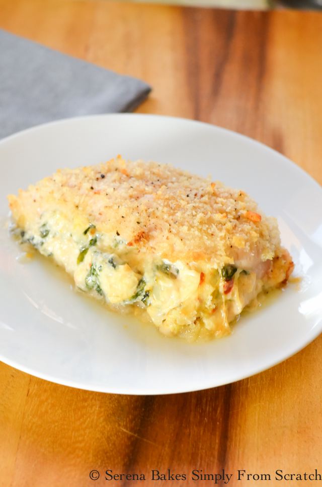 Sun-dried Tomato Spinach Artichoke Stuffed Baked Chicken