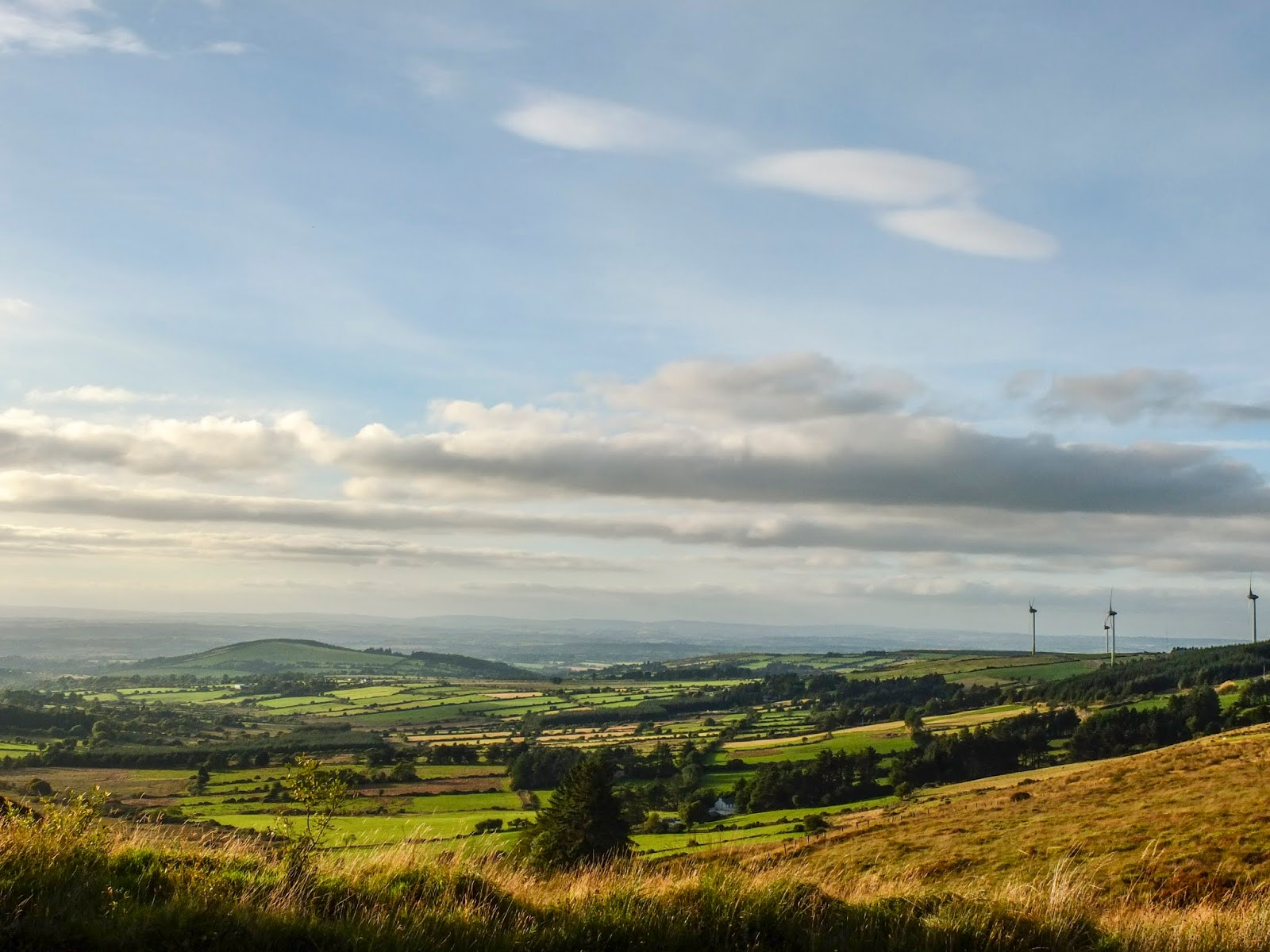Landscape of a mountain valley in North Cork before sunset.