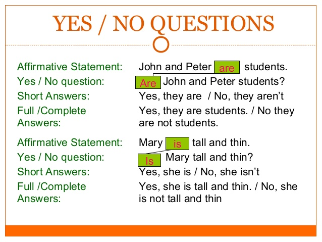 English Immersion Program : Yes/No questions and short ...