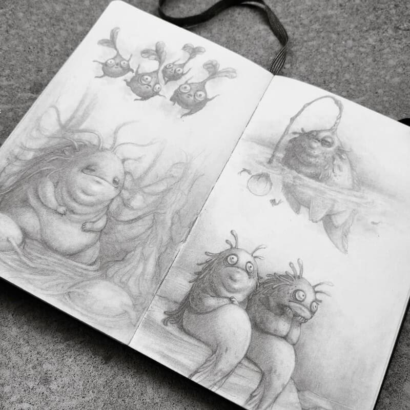 04-Stella-Bialek-Moleskine-Fantasy-Creatures-Drawings-www-designstack-co