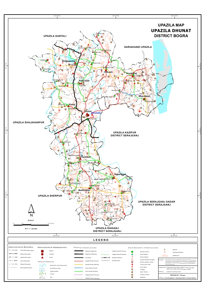 Dhunat Upazila Map Bogra District Bangladesh