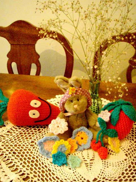 crochet toys carot strawberry cherries