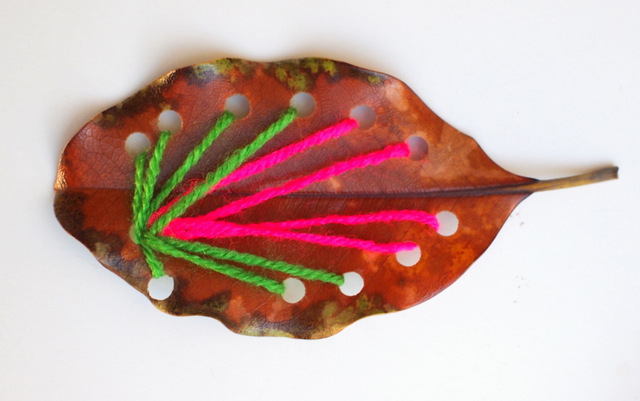 Leaf Sewing yarn Art