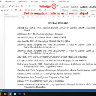 Cara membuat tulisan urut sesuai abjad dalam daftar pustaka