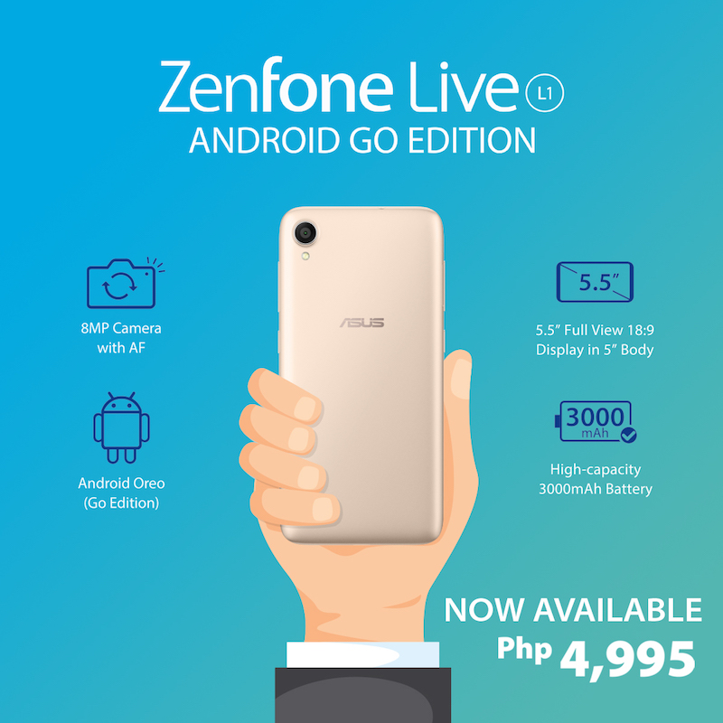 ASUS launches their first Android Go edition ZenFone Live L1 priced at PHP 4,995