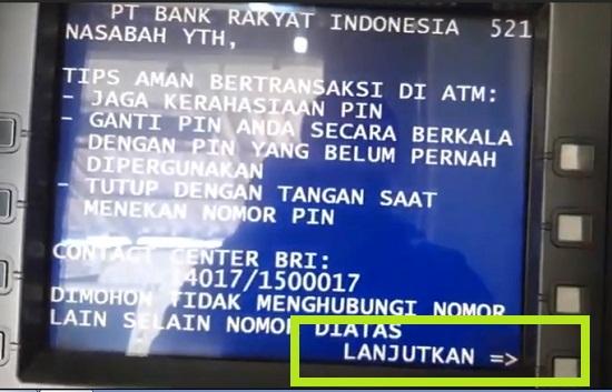 Memulai Transaksi di ATM BRI Untuk Ambil Uang 3