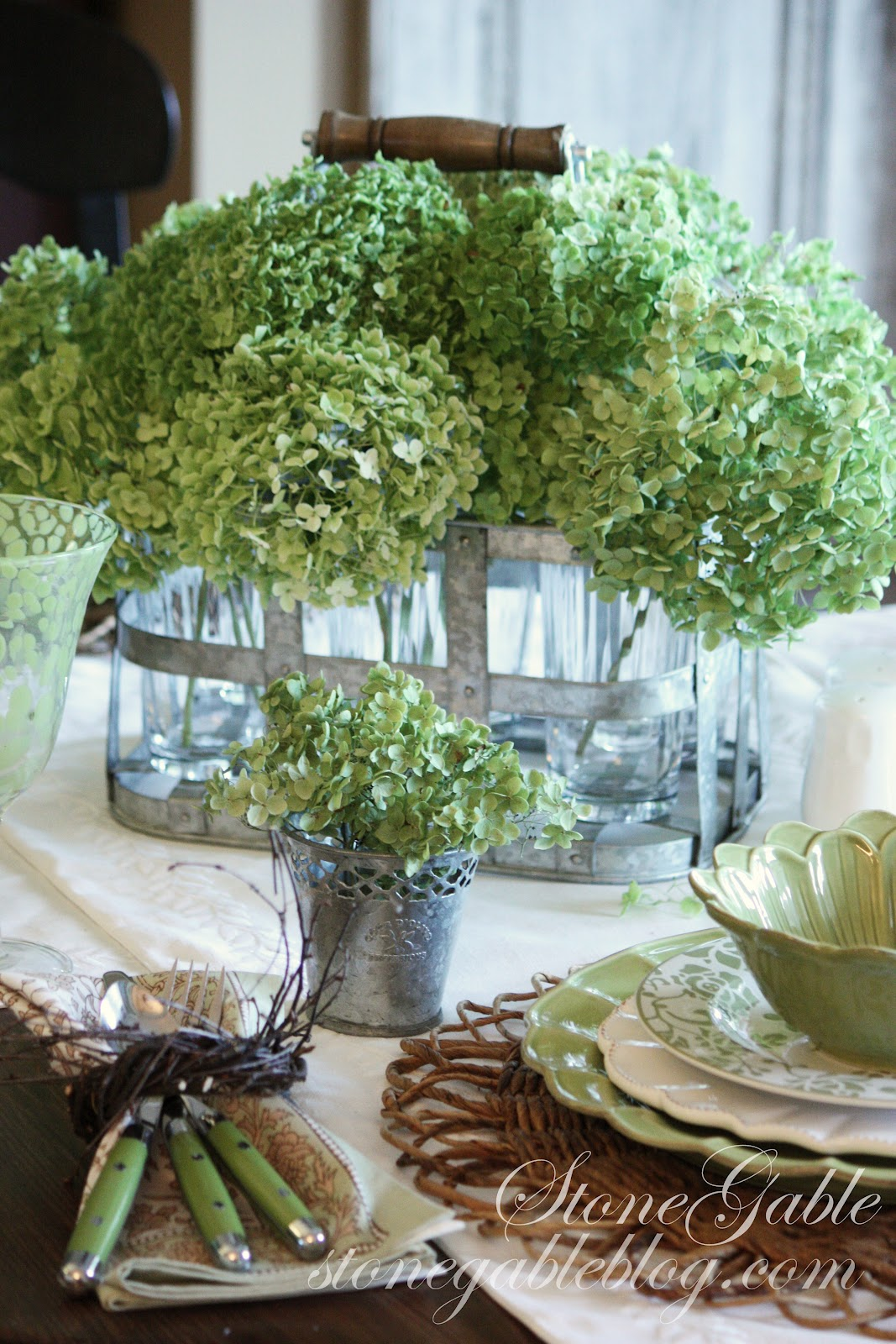 Green Hydrangeas Tablescape Stonegable