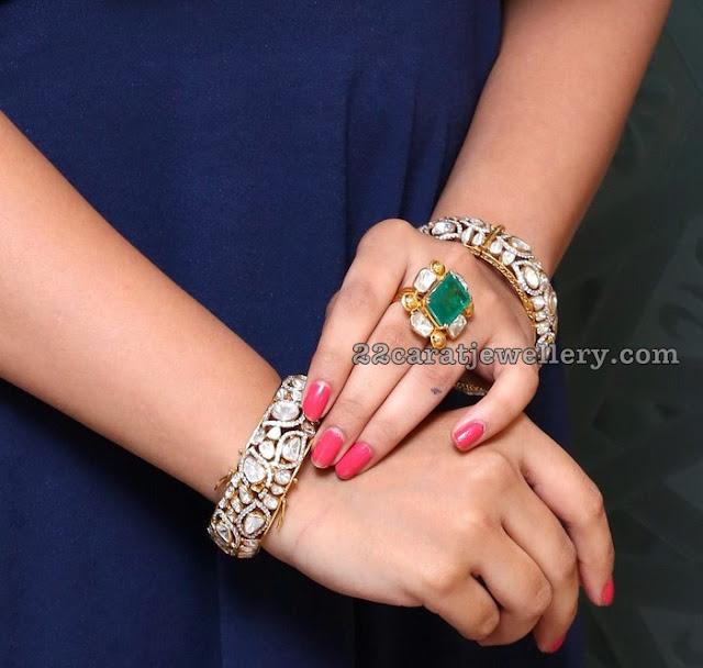 Model Nikitha Pachi Diamond Choker Jhumkas
