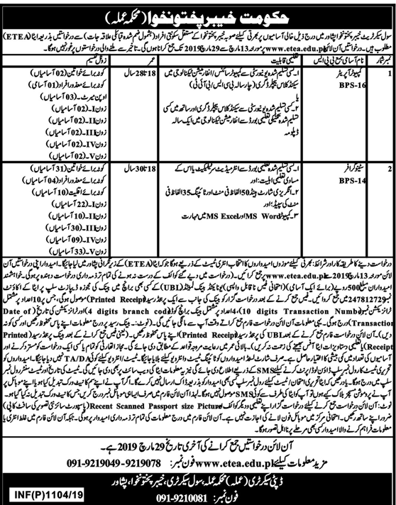 Advertisement for Government of KPK Jobs March 2019