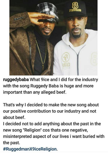 Looks like Ruggedman and 9ice have squashed their beef