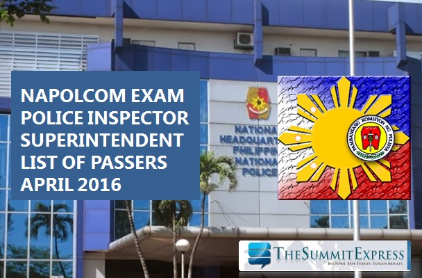 April 2016 NAPOLCOM Police Inspector, Superintendent Exam