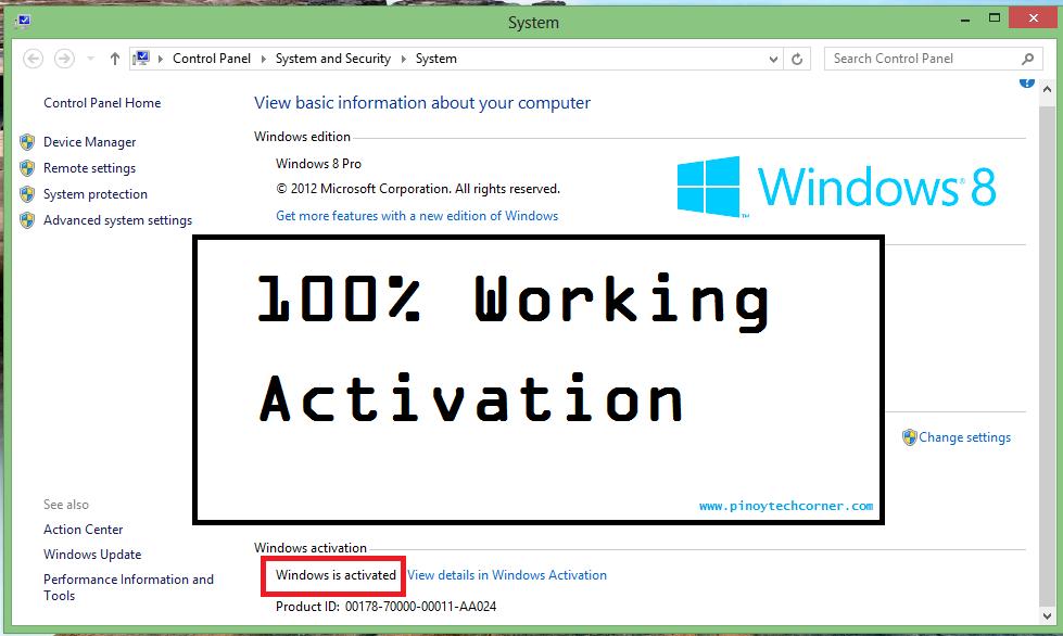 activation windows 8 crack product key