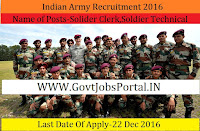 Indian Army Recruitment 2016-Solider Clerk,Soldier Technical