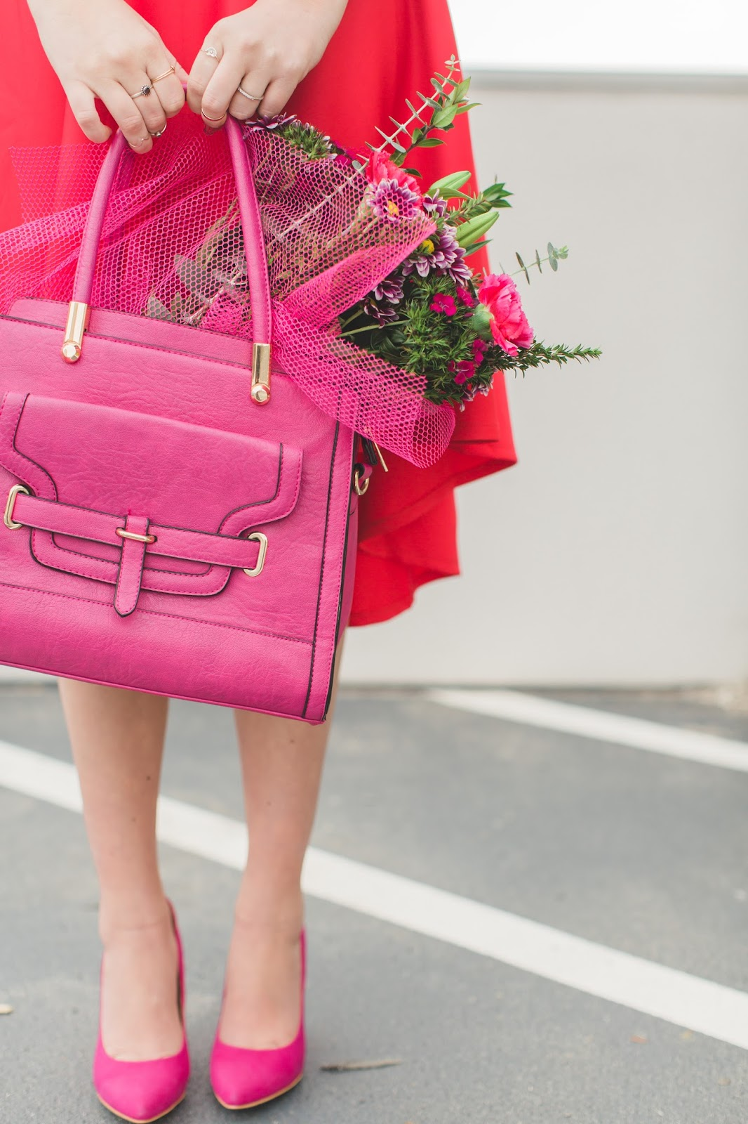 Pink Purse, Flowers, Valentine's Day Flowers