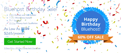 Bluehost Birthday Sale Deal 2017 Hosting @ $ 2.65/month*