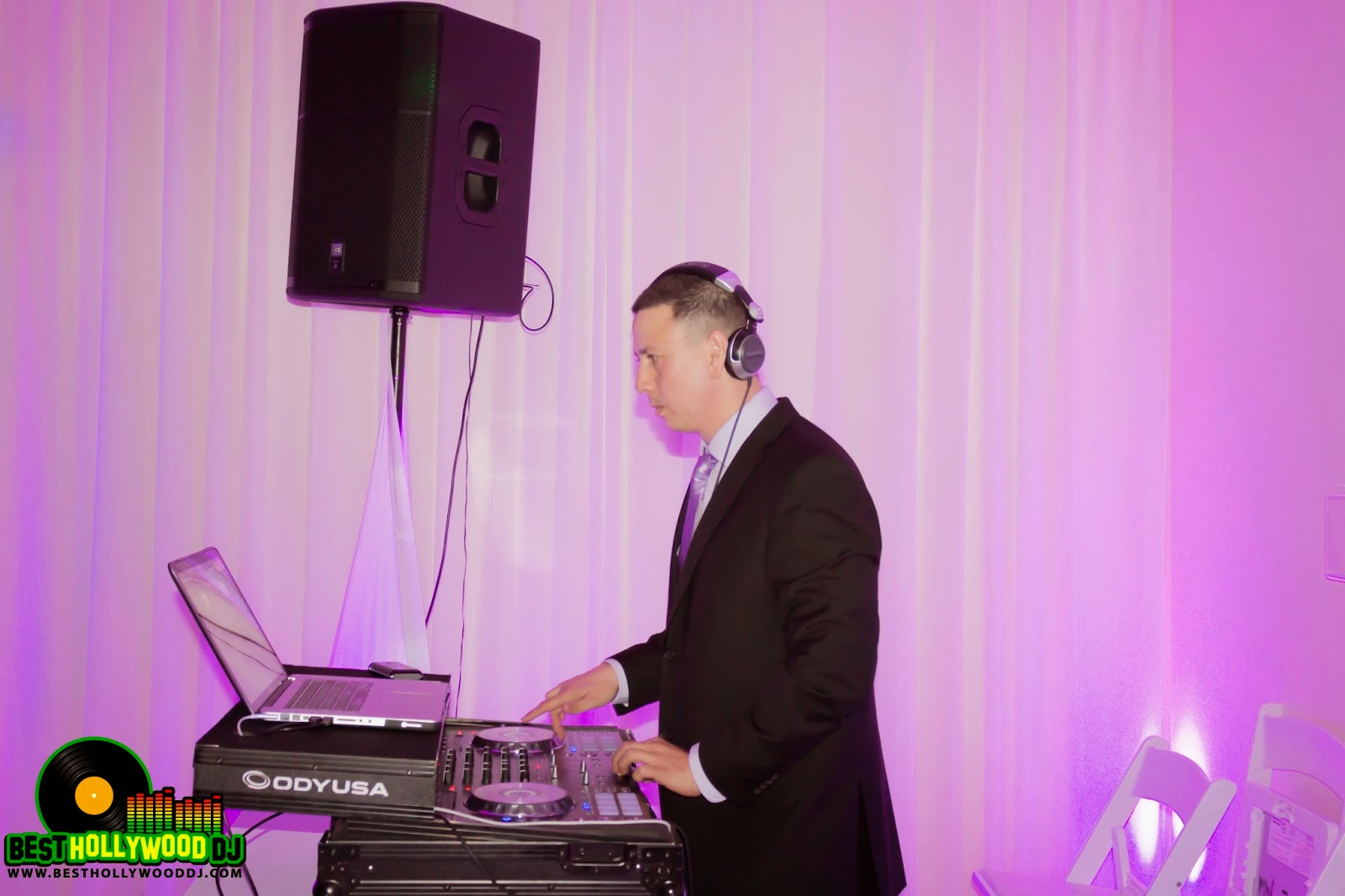DJ, Malibu west beach club wedding, purple uplighting