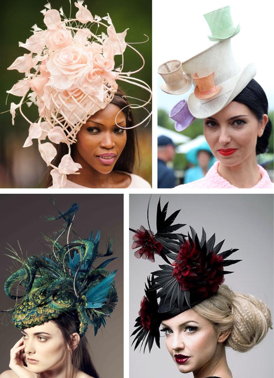 Women wearing elaborate fascinators at horse races