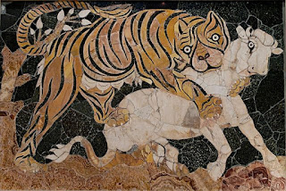 Tiger attacking a calf, Roman mosaic, 4th century CE.