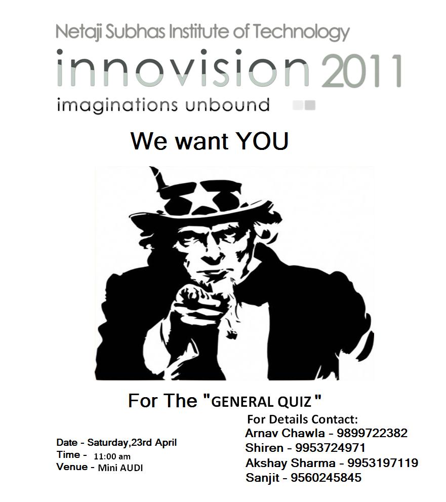 The NSIT Quiz Club: Quizzes at Innovision- 22-24 April,2011
