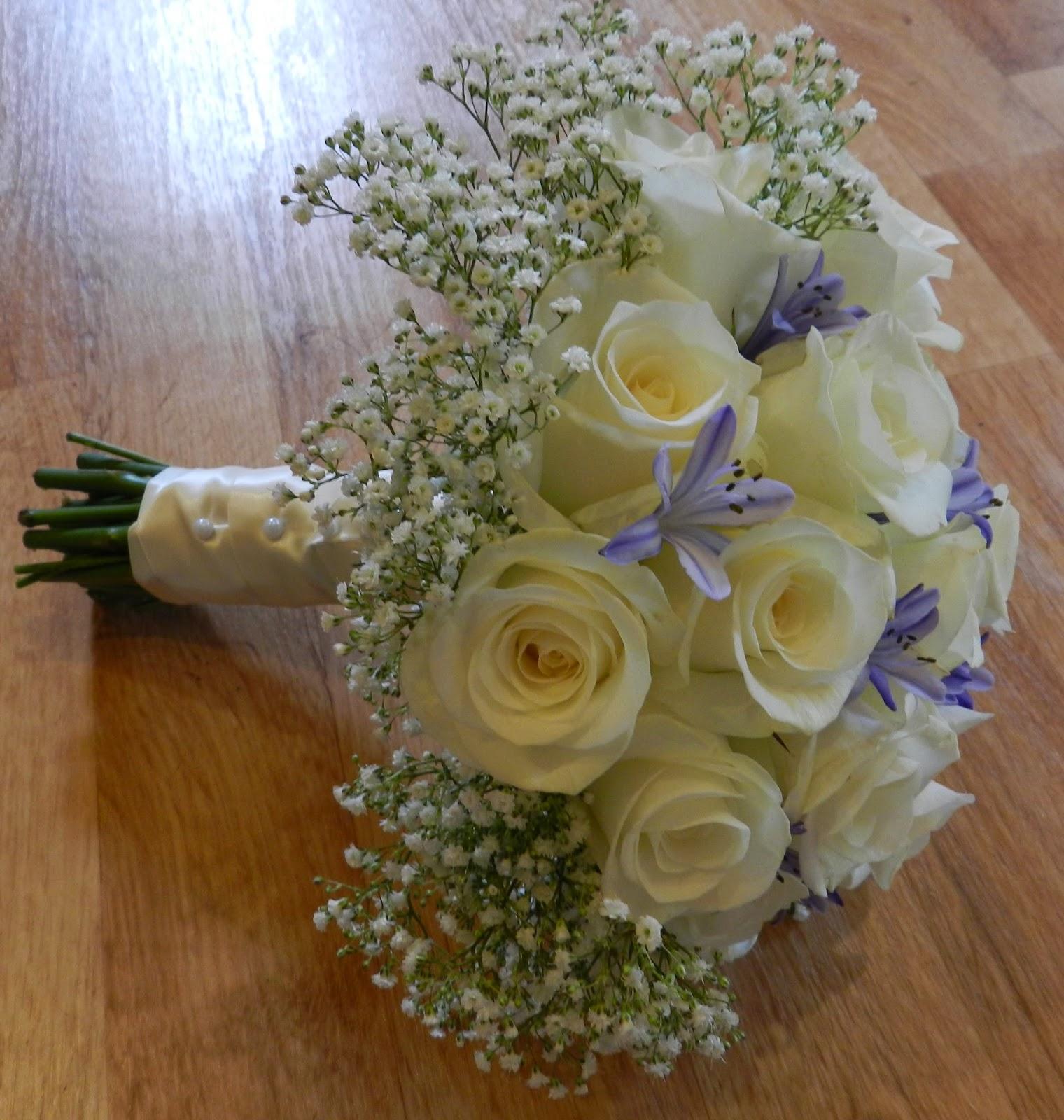 Sandra 39 s flower studio white and blue brides bouquet and for White and blue flower bouquet