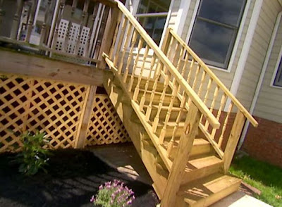 How do you attach outdoor stairs to a deck or porch