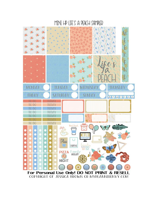 Free Printable Life's A Peach Sampler for the Mini Happy Planner from myplannerenvy.com