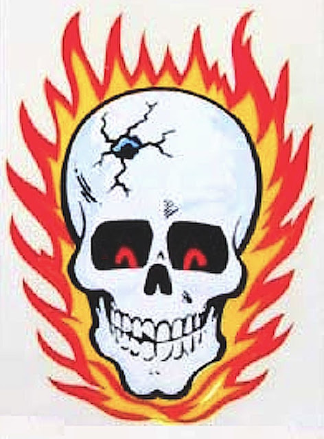 a color 1950s 1960s bicycle decal, the flaming skull with bullet hole