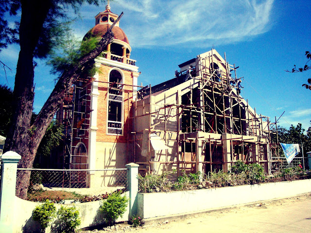 Under construction church in Sta Fe Bantayan Island