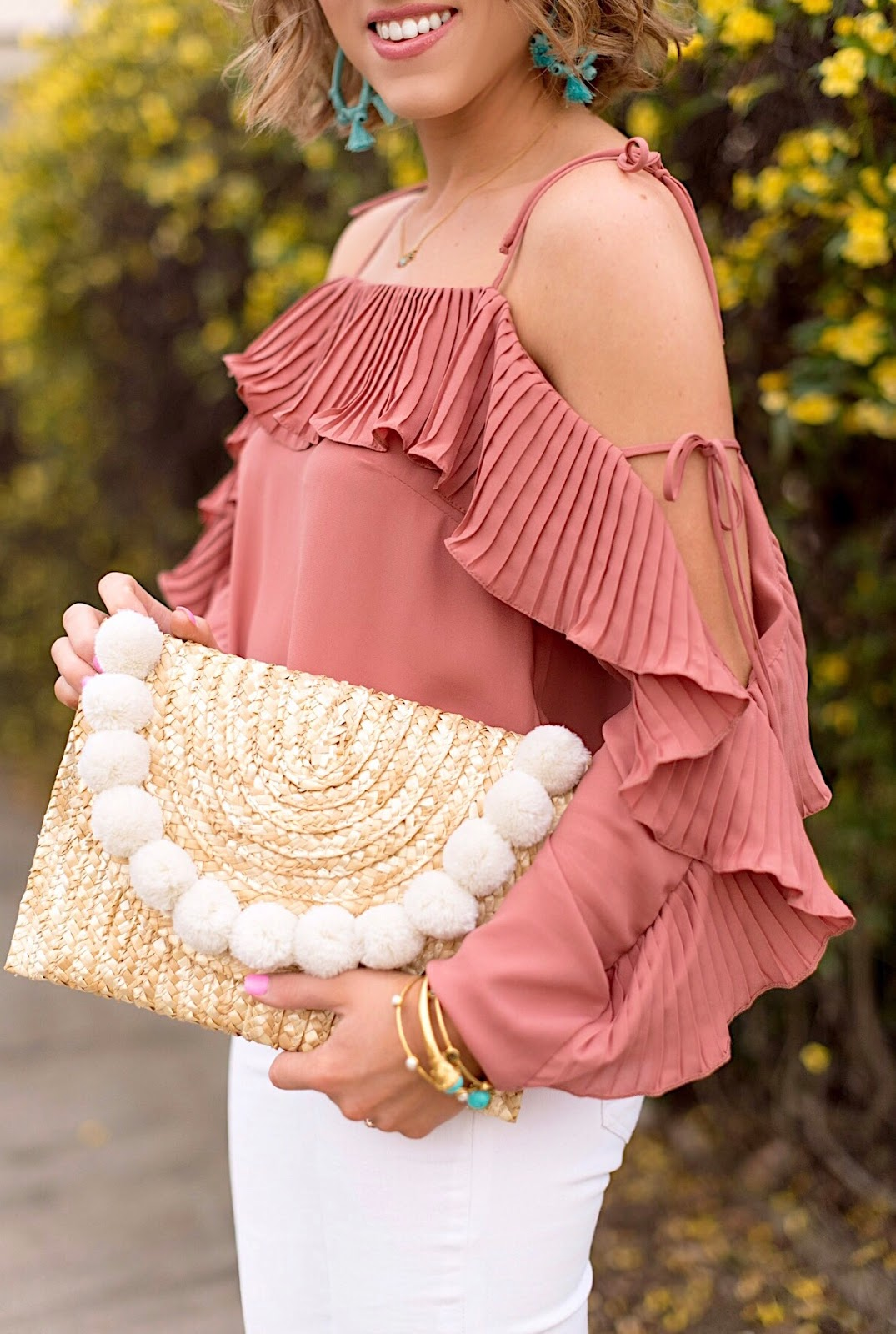 Pleated Cold Shoulder Top & Pom Pom Clutch - Click through to see more on Something Delightful Blog