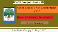 National Book Trust Recruitment 2017– Lower Division Clerk