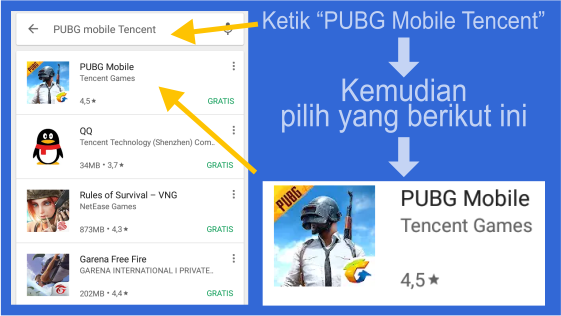 Langkah Download PUBG Mobile English Version (Tencent)