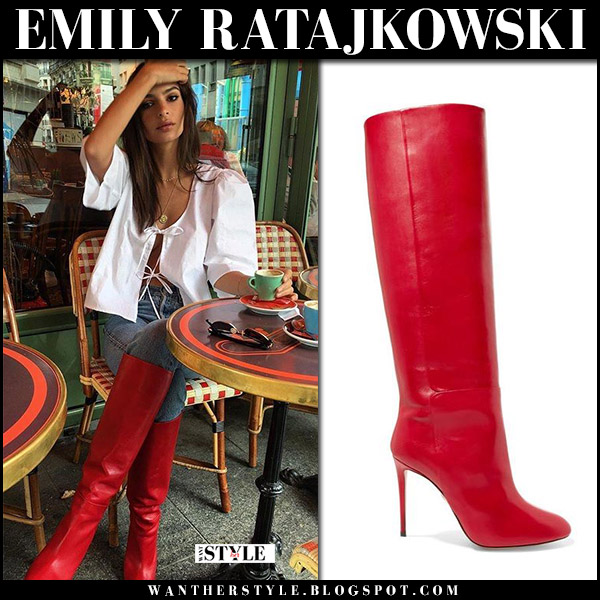 Emily Ratajkowski in red leather knee boots  aquazzura brera paris fashion week outfit september 2017