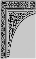 Vector motif floral mihrab masjid