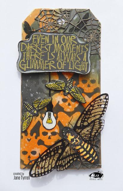 halloween tag - moth stamp - skulls stencil