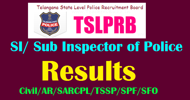 TSLPRB SI, ASI of Police Results 2018 TS Sub Inspectors (Civil/ AR/ IT & Comm ) ASI FPB Results ...