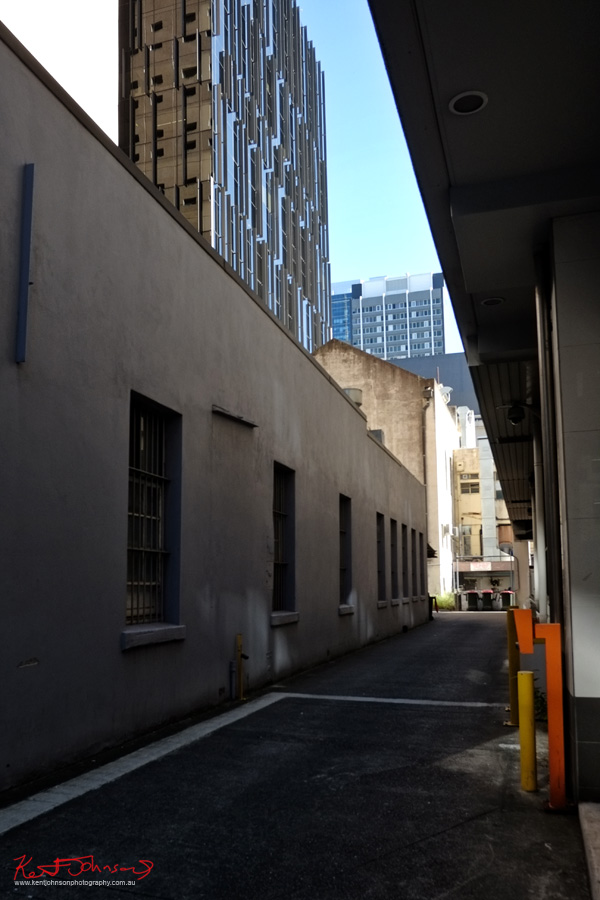 Laneway and new hight rise building Brisbane. Photo by Kent Johnson.
