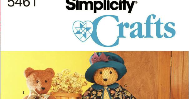 Simplicity Stuffed 5461 Bear Pattern