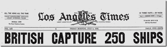 5 July 1940 worldwartwo.filminspector.com Italian LA Times headline