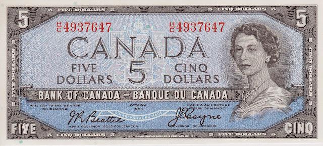 Canadian Banknotes 5 Dollars banknote 1954 Queen Elizabeth II