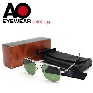 AO Military Original Pilot Aviator Sunglasses (Silver, Green Non-Polarized)