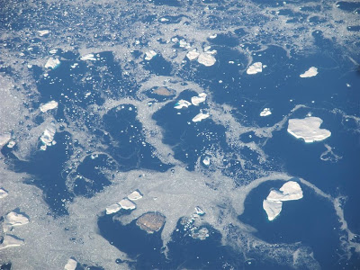 floating iceburgs off the greenland coast